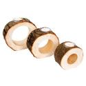 Nr.: 3550 Drei runde Teelichthalter aus Holzstücken - Holzladen24.de