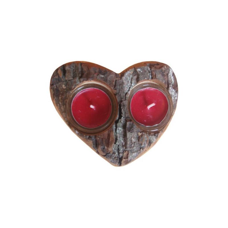 Nr.: 3160 Teelichthalter für zwei Lichter in Herzform - Holzladen24.de