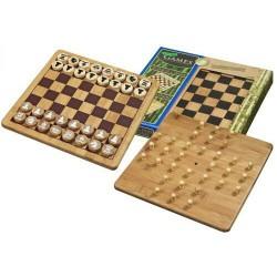 Nr.: 3251 Schach-Dame-Solitair aus Bambus - 3251 Philos Spiele