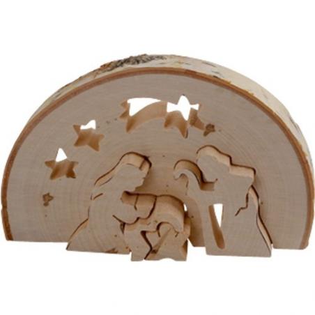 Nr.: 3338 Krippe aus einer halben Baumscheibe - 3338 Holzladen24.de