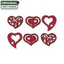 Nr.: 19090 Holzmotiv sechs rote Herzen im Set - Drechslerei Kuhnert