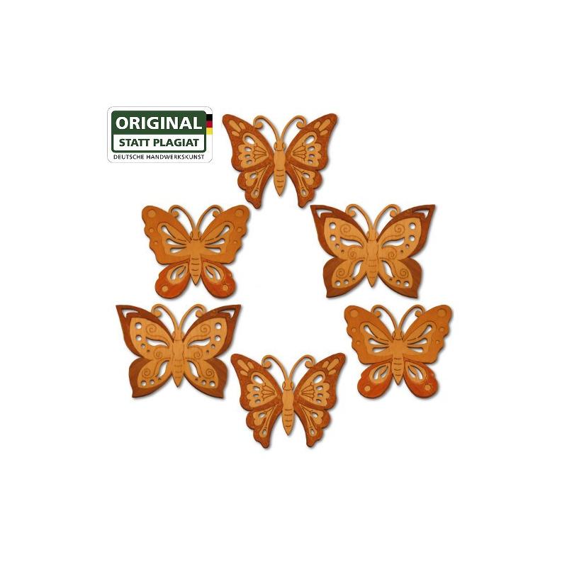 19089 Holzmotiv sechs Schmetterlinge im Set Drechslerei Kuhnert 19089