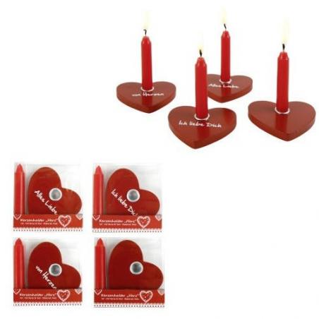 Nr.: 449546 Vier rote Kerzenhalter Herz Holzladen24.de 449546