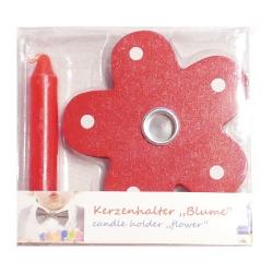 Nr.: 449544 Ein roter Kerzenhalter im Blumendesign - Holzladen24.de 449544