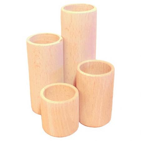 Nr.: 7132 Vier Röhren Stifthalter aus unbehandeltem Buchenholz - Holzladen24.de