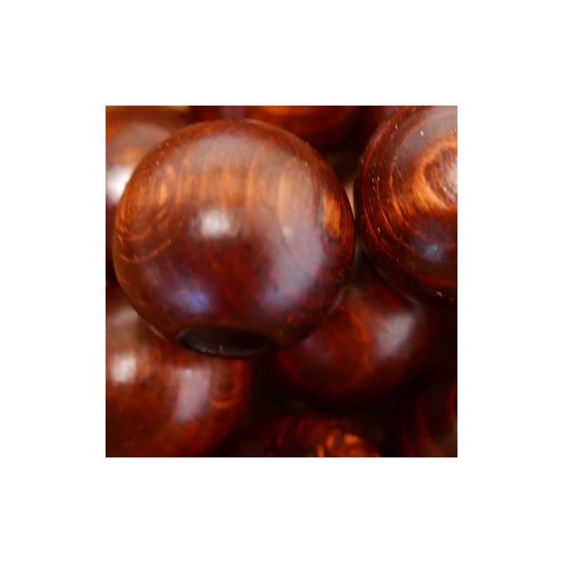 Sechs braune Macrameeperlen 30 mm aus Buchenholz - 1808 Holzladen24.de