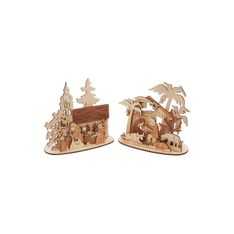 Nr.: 6872 Zwei Teelichthalter Weihnachten - Holzladen24.de 6872