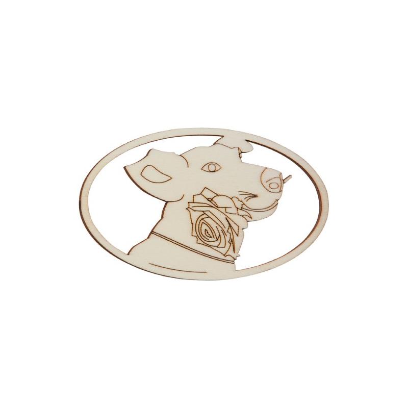 Nr.: 27191 Holzmotiv Hund Mit Rose oval gerahmt - 27191 Holzladen24.de