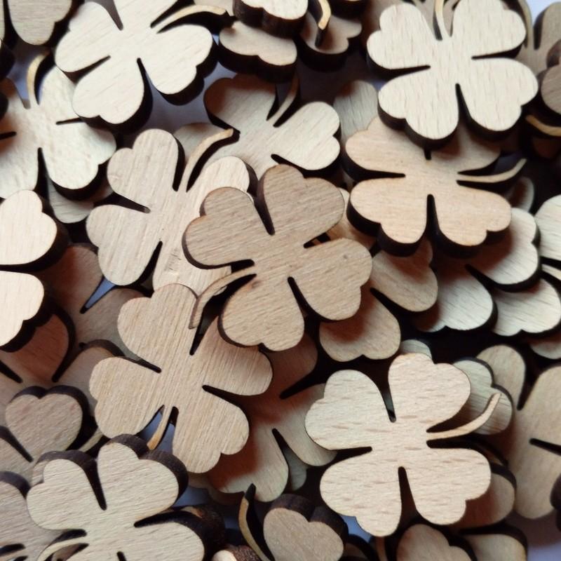 Nr.: 22KLEE Bastelteile Streuartikel 50 Buchenholz-Klee - 22KLEE Holzladen24.de