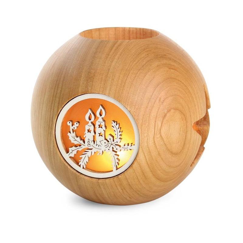 Nr.: 4101-3 Kugel-Teelicht mit Kerzenmotiv - 4101-3 Holzladen24.de