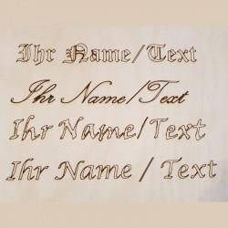 Eine Textgravur in maximal 70x20mm bei Holzladen24.de