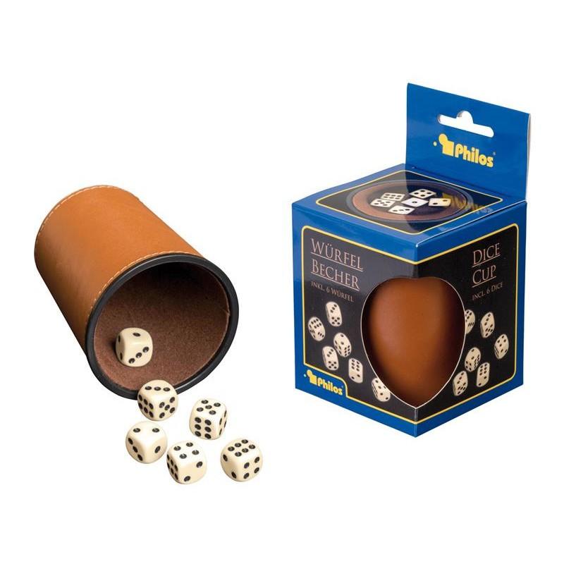 Nr.: 6696 Kunstlederwürfelbecher mit Würfeln - 6696 Philos-Spiele