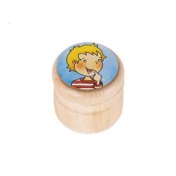 Nr.: 60928 Kleine runde Holzdose mit Jungengesicht - GoKi 60928