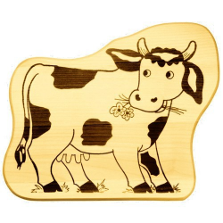 Nr.: 12246 Frühstücksbrettchen - Kuh - Holzladen24.de