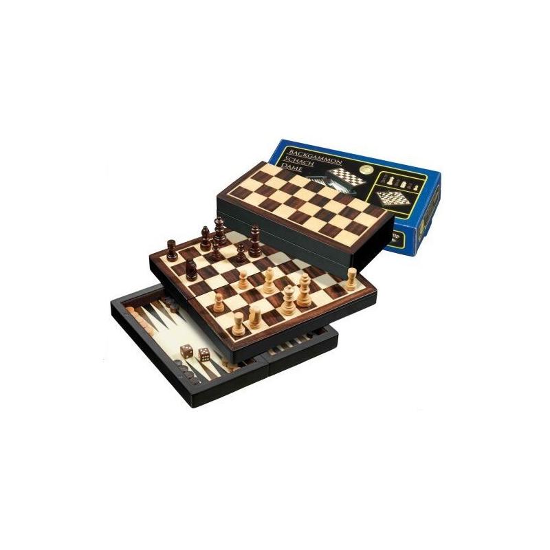 Nr.: 2507 Schach Dame Backgammon magnetisch Feld 22 mm - 2507 Philos Spiele