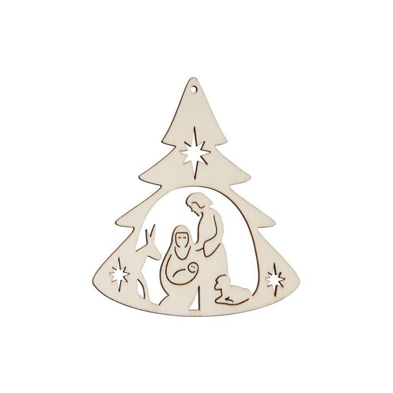 Nr.: 27383 Holzmotiv Weihnachtskrippe Tannenbaumform - 27383 Holzladen24.de