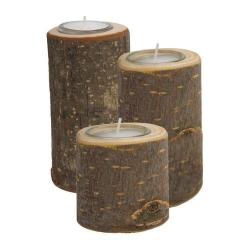 Nr.: 3501 Drei Teelichthalter aus Holz-Rundlingen - Holzladen24.de
