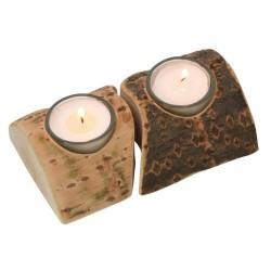 Nr.: 3504 Zwei Teelichthalter aus Holzstücken - Holzladen24.de