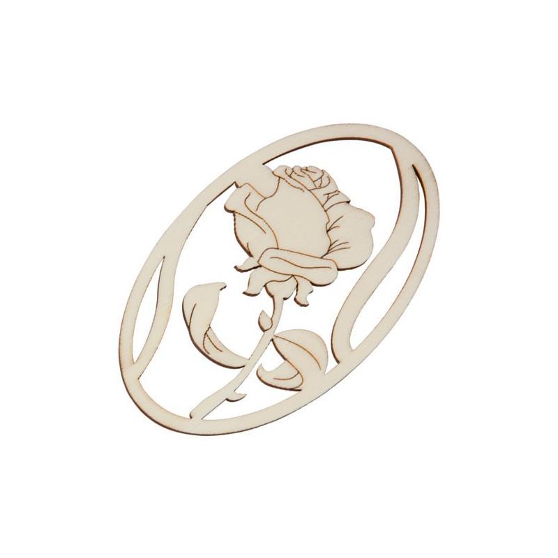 Nr.: 27005 Holzmotiv Rose oval gerahmt - 27005 Holzladen24.de