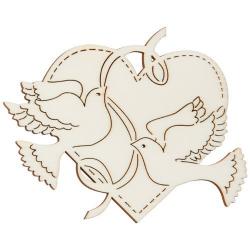 Nr.: 27125 Holzmotiv zwei Tauben mit Band vor großem Herz - 27125 Holzladen24.de