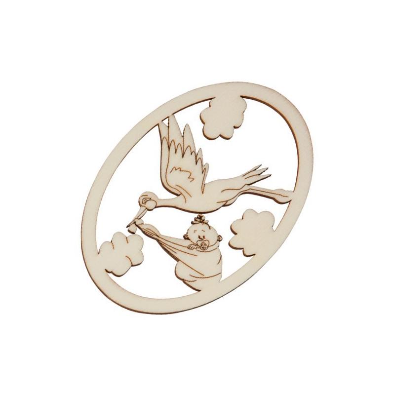 Nr.: 27151 Holzmotiv: Storch mit Baby oval gerahmt  - 27151 Holzladen24.de