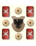 Holzschilde sind mit die ältesten Schutzwaffen. Die ersten Schilde der Geschichte bestanden aus Leder über einen Holzrahmen.